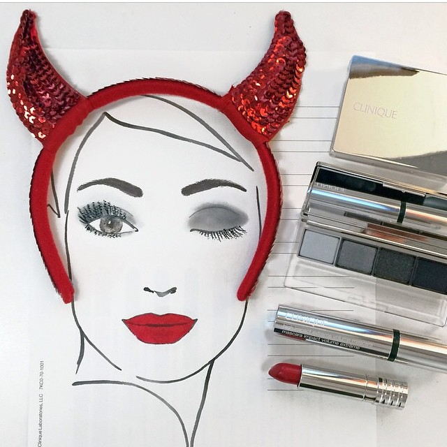 Have fun at #halloween with #clinique ? #makeup #look #devils #ears