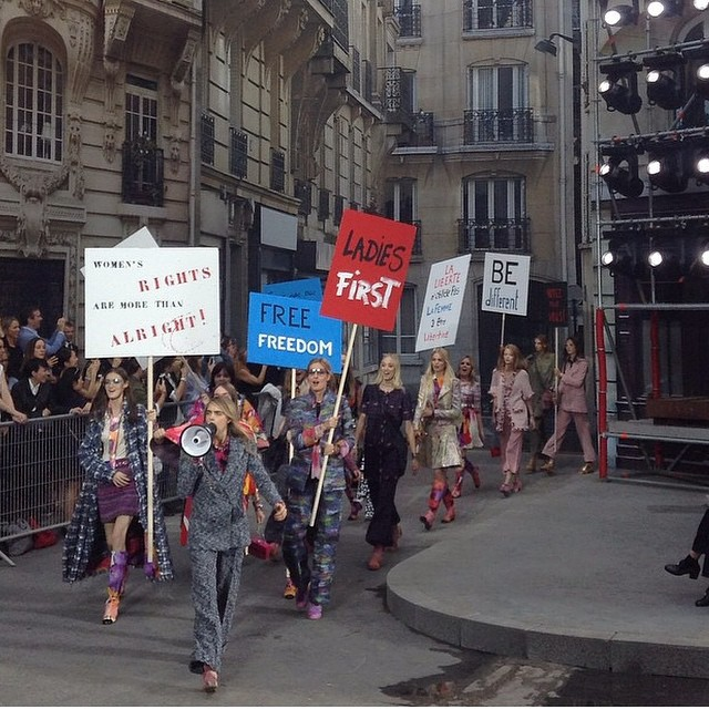 Another provocative #fashionshow of @chanel #ss15. Not shopping in the supermarket but demonstrating on the street