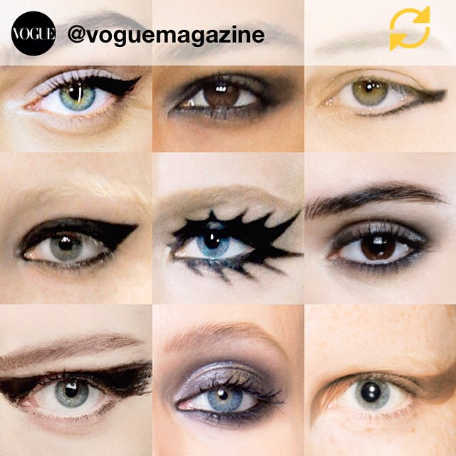 RG @voguemagazine: We're tracing the eyeliner trends from #SS15 runways on Vogue.com! Which would you try? #regramapp