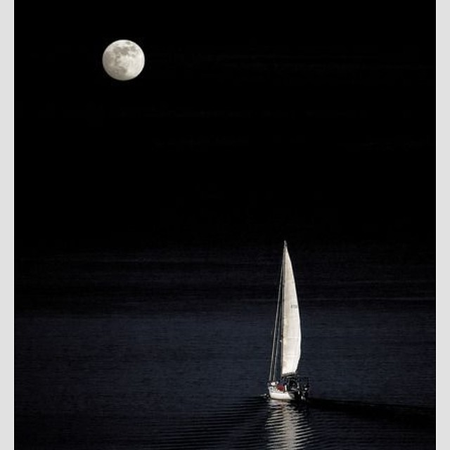 #midnight at #sea #fullmoon #peace #tranquility #sailing #dreaming #fearless #goodnight
