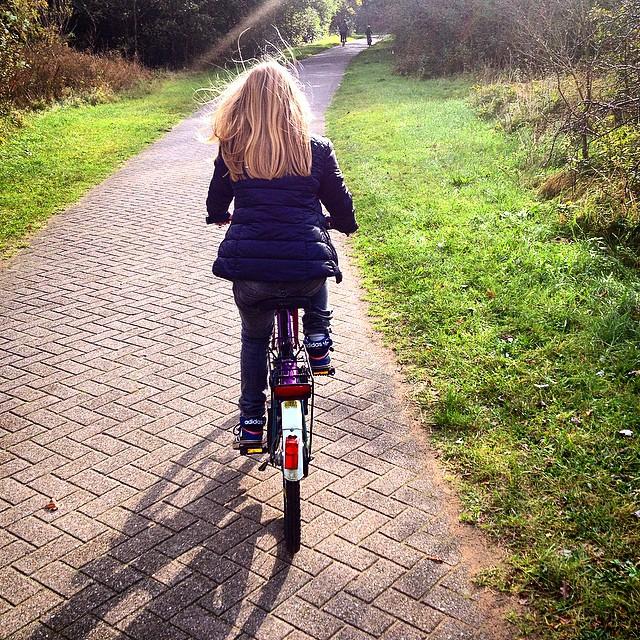#love my #girl #cycling in #autumn #sunnydays #blonde #sunshine #daughter