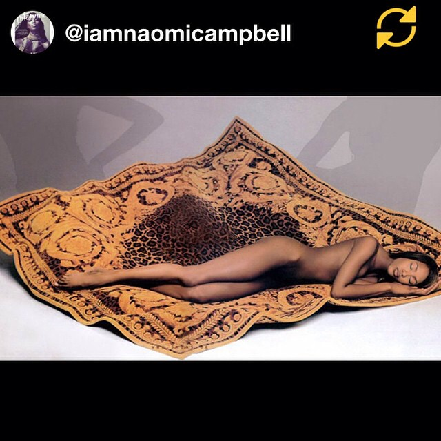 RG @iamnaomicampbell: #TGIF #myood #sleepy @versace_official #RichardAvedon? #regramapp