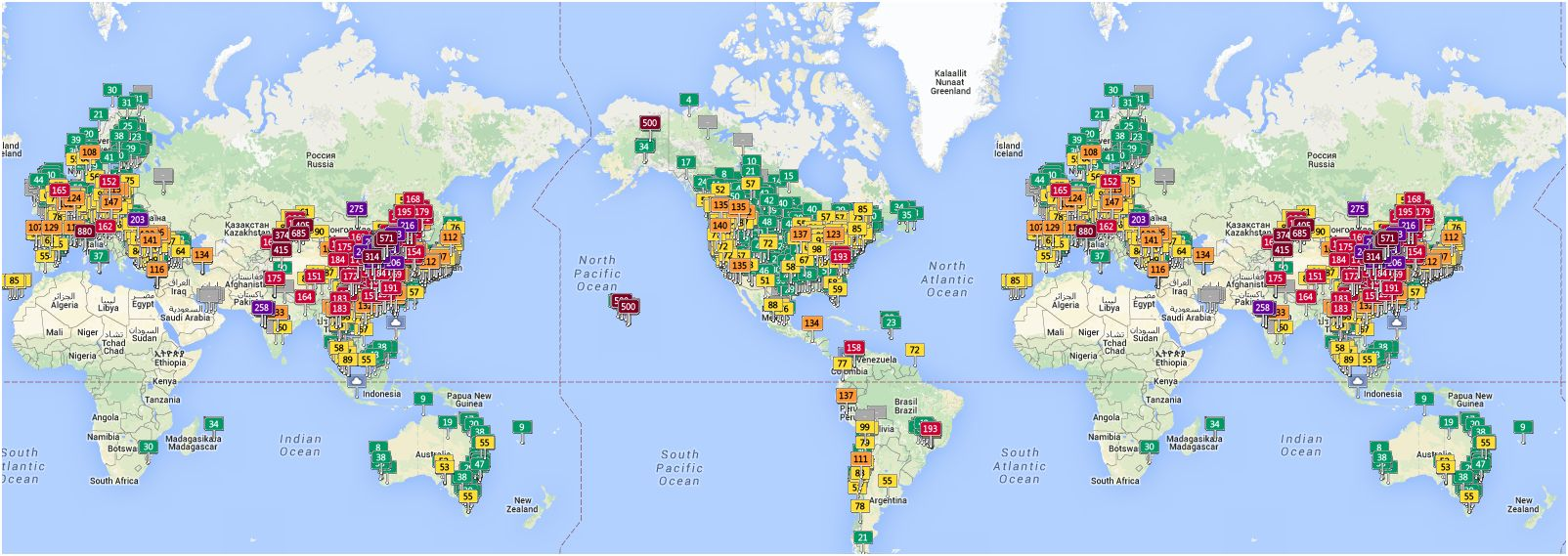 luchtvervuiling wereldwijd op 6 maart om 15 30 uur