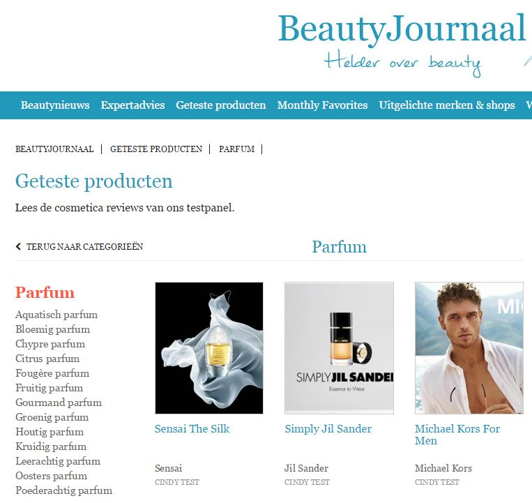 geteste parfums op beautyjournaal