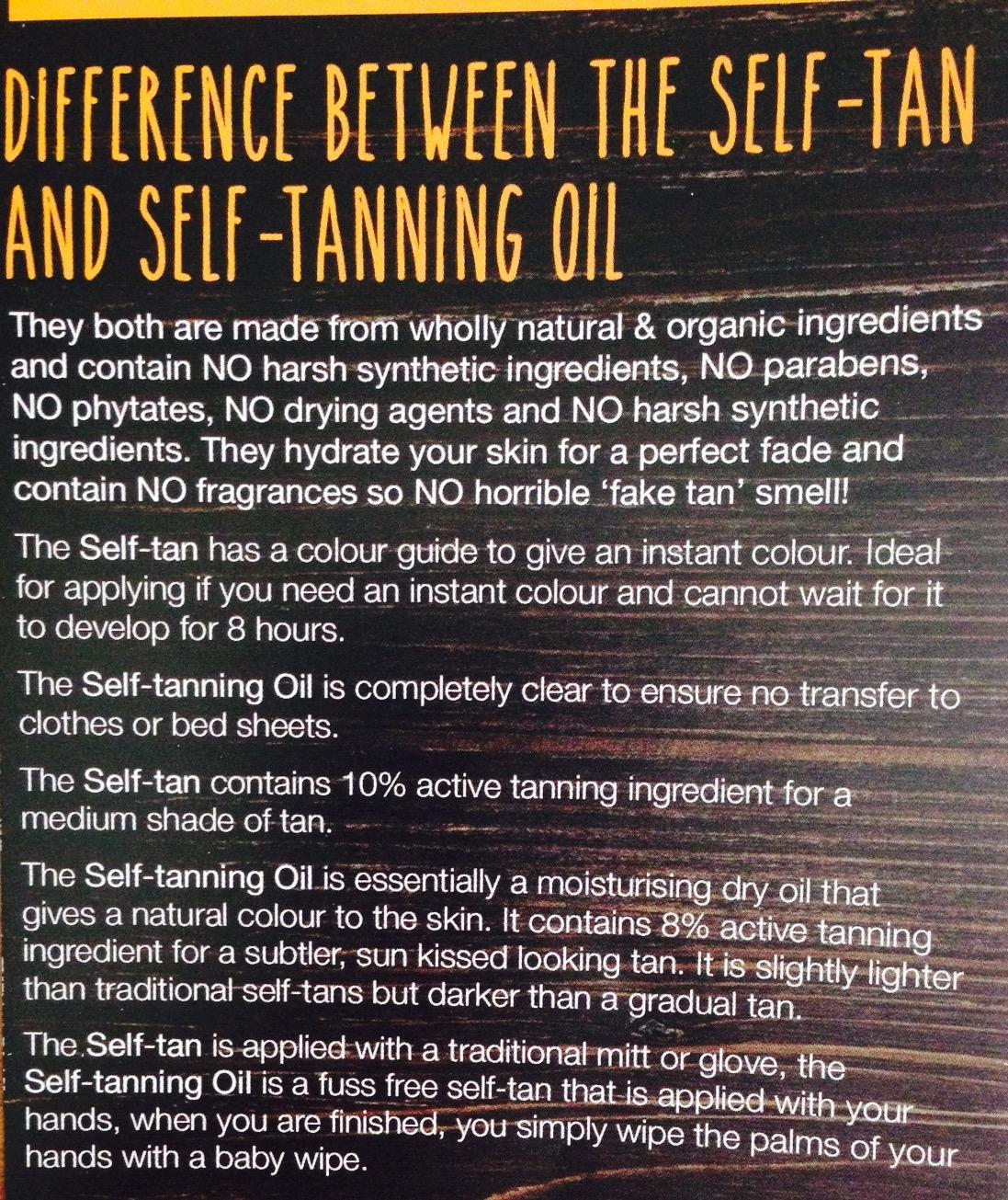 verschillen tanorganic lotion en oil